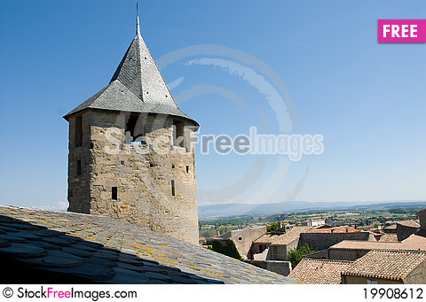 Free Ancient Watchtower Of Carcassonne Chateau Stock Photography - 19908612