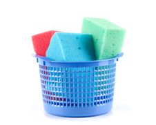 Plastic Bucket With Sponges Royalty Free Stock Photo