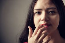 Free Pretty Indian Woman Portrait, Finger On Lips Royalty Free Stock Photos - 19901038