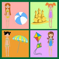 Free Funny Summer Icons Stock Image - 19901191