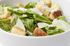 A Green Salad With Croutons And Cheese Stock Image