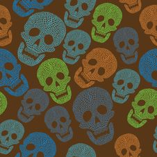 Free Seamless Colorful Pattern With Skull Royalty Free Stock Photos - 19903048