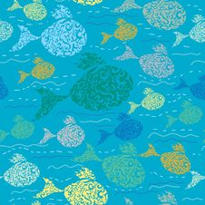 Free Seamless Pattern With Colorful Fish. Royalty Free Stock Photography - 19903367