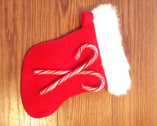 Free Christmas Stocking With Two Candy Canes Stock Images - 19903774