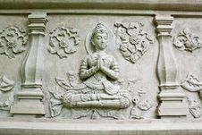 Free Wall Of Temple Buddha In Thailand Royalty Free Stock Images - 19905149