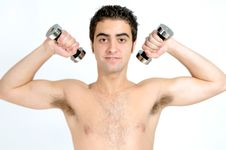 Free Fitness, Young Man Lifting Weights Royalty Free Stock Photography - 19905327