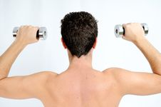 Free Fitness, Young Man Lifting Weights Stock Images - 19905354