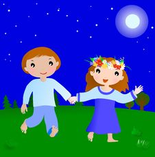 Free Happy Couple Boy And Girl In The Night Stock Image - 19905591