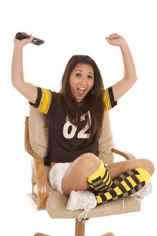 Free Football Fan Hands Up Remote Stock Photos - 19906133