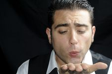 Free Man Blowing A Kiss Royalty Free Stock Photos - 19906178