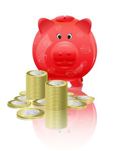 Free Piggy Moneybox With Money Royalty Free Stock Photo - 19906705