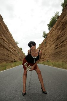 Free Woman On The Road Stock Photography - 19907282