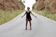 Free Woman On The Road Stock Photography - 19907352