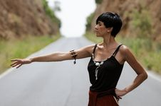 Free Woman On The Road Stock Image - 19907441