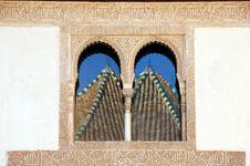 Reflection In Alhambra Windows Stock Photos