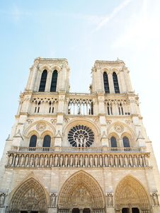 Free The Facade Of Notre Dame In Paris , France Stock Photos - 19907673