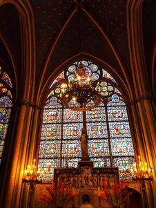 Free Candle And Stained Window In Notre Dame , Paris Stock Photo - 19907690
