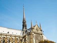 Notre Dame With Blue Sky In Paris (Horizontal) Royalty Free Stock Images