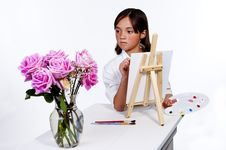 Free Looking At The Flowers To Paint. Stock Photo - 19908250