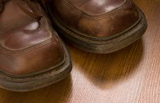 Old Worn Leather Shoes Closeup Stock Photos