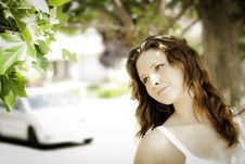 Free Young Woman Outdoors Looking At A Tree Royalty Free Stock Images - 19908519