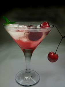 Free Alcohol Liqueur Cocktail With Cherry Royalty Free Stock Image - 19909046