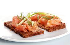 Free Fresh Salmon Sandwiches Royalty Free Stock Image - 19909066