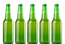 Green Beer Bottles Stock Photography