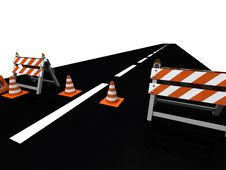 Orange Road Cones And Barriers On A Road Stock Photo