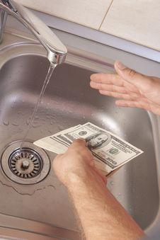 Money Laundering In Washbasin Royalty Free Stock Image