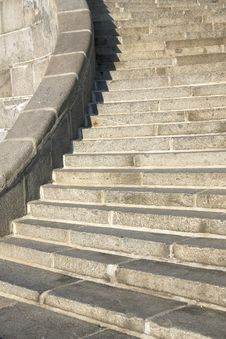 Free Granite Curve Stairs With Handrail Stock Photos - 19909983