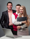 Free Two Men And Woman Working With A Computer Royalty Free Stock Images - 19913839