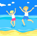 Free Children Jumping In The Sea Royalty Free Stock Photo - 19914795