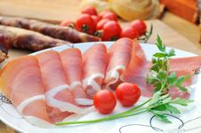 Free Prosciutto With Tomatoes Royalty Free Stock Photos - 19910008