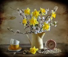 Easter Still Life With Narcissuses Royalty Free Stock Photo
