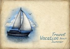 Illustration Of Sailing Boat Stock Images