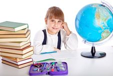 Free Girl Is Doing Homework Royalty Free Stock Photos - 19912078
