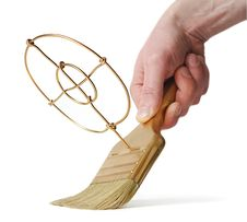 Gold Brush With Target In Hand Stock Image