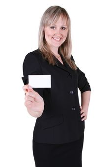 Free Businesswoman With A Business Card Royalty Free Stock Photo - 19912715