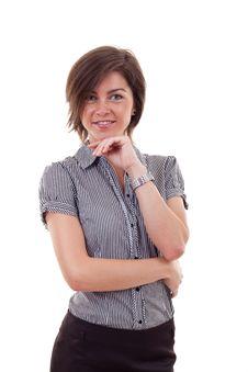 Beautiful Business Woman Thinking Stock Photography