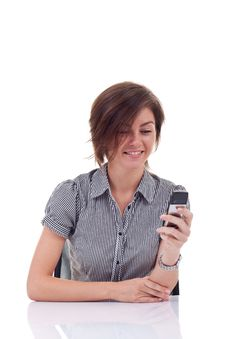 Business Woman Sending A Text Message Stock Photo