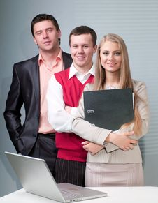 Free Two Men And Woman Working With A Computer Royalty Free Stock Images - 19913769