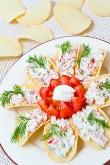 Free Appetizer On Chips Stock Image - 19914171