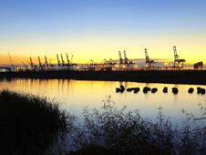 Crane In Cargo Wharf Stock Photo