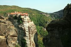 Monastery On Rock, Meteora, Greece Royalty Free Stock Photos