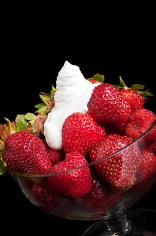 Appetizing Strawberry And Cream Stock Photography