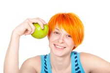 Free Smiling Red Hair Woman With Apple Stock Photo - 19917120
