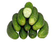 Free Ripe Cucumbers  Isolated. Royalty Free Stock Image - 19917826