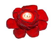 Free Red Roses Leavs And Glowing Candle. Royalty Free Stock Photo - 19917965