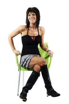 Free Attractive Woman Smiling Sitting On Chair Stock Photography - 19919532